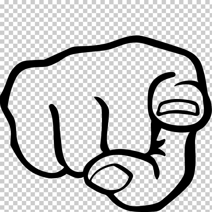 Index finger Hand , pointing, black and white logo PNG.