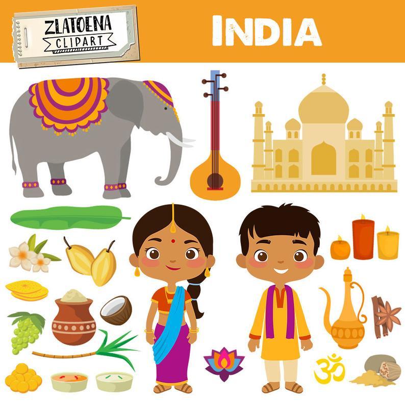 India clipart India digital art Diwali graphics Taj Mahal Pongal Festival  clipart Incredible India digital clip art Sitra Elephant Mumbai.