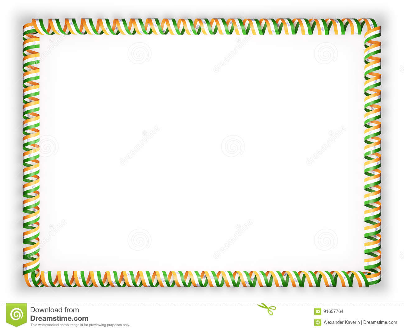 Frame And Border Of Ribbon With The India Flag. 3d Illustration.