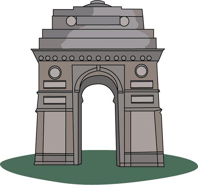 India Gate Clipart Black.