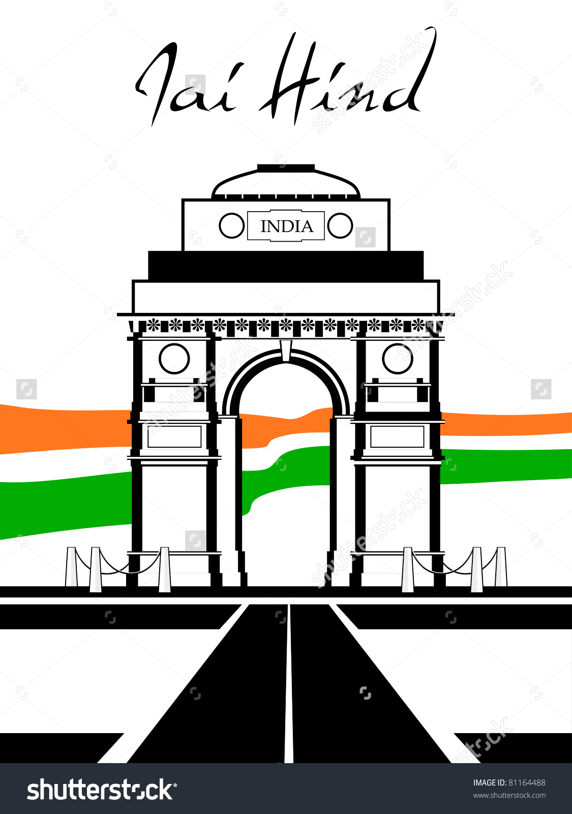 India gate clipart black and white.