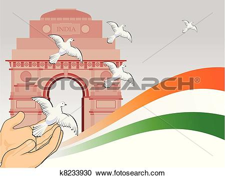 Clipart of A scene of republic day with flying pigeon in front of.