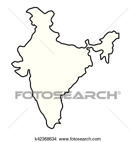 India map silhouette Clipart.