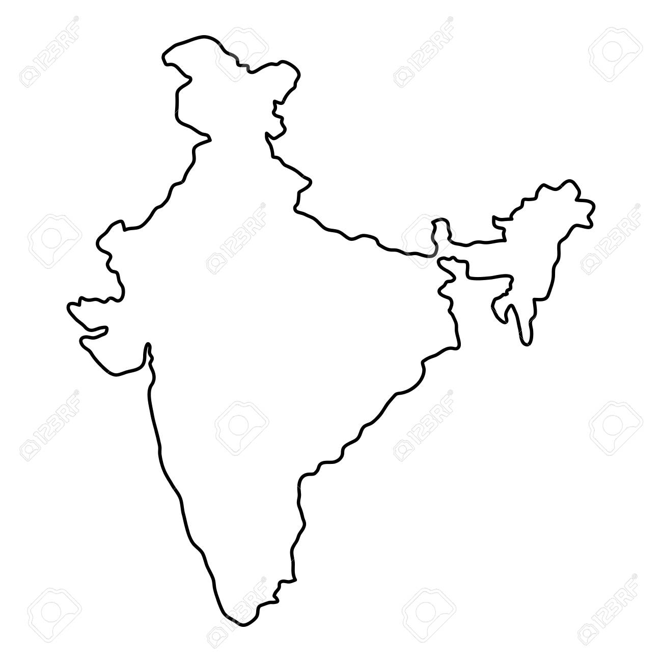India map of black contour curves of vector illustration.
