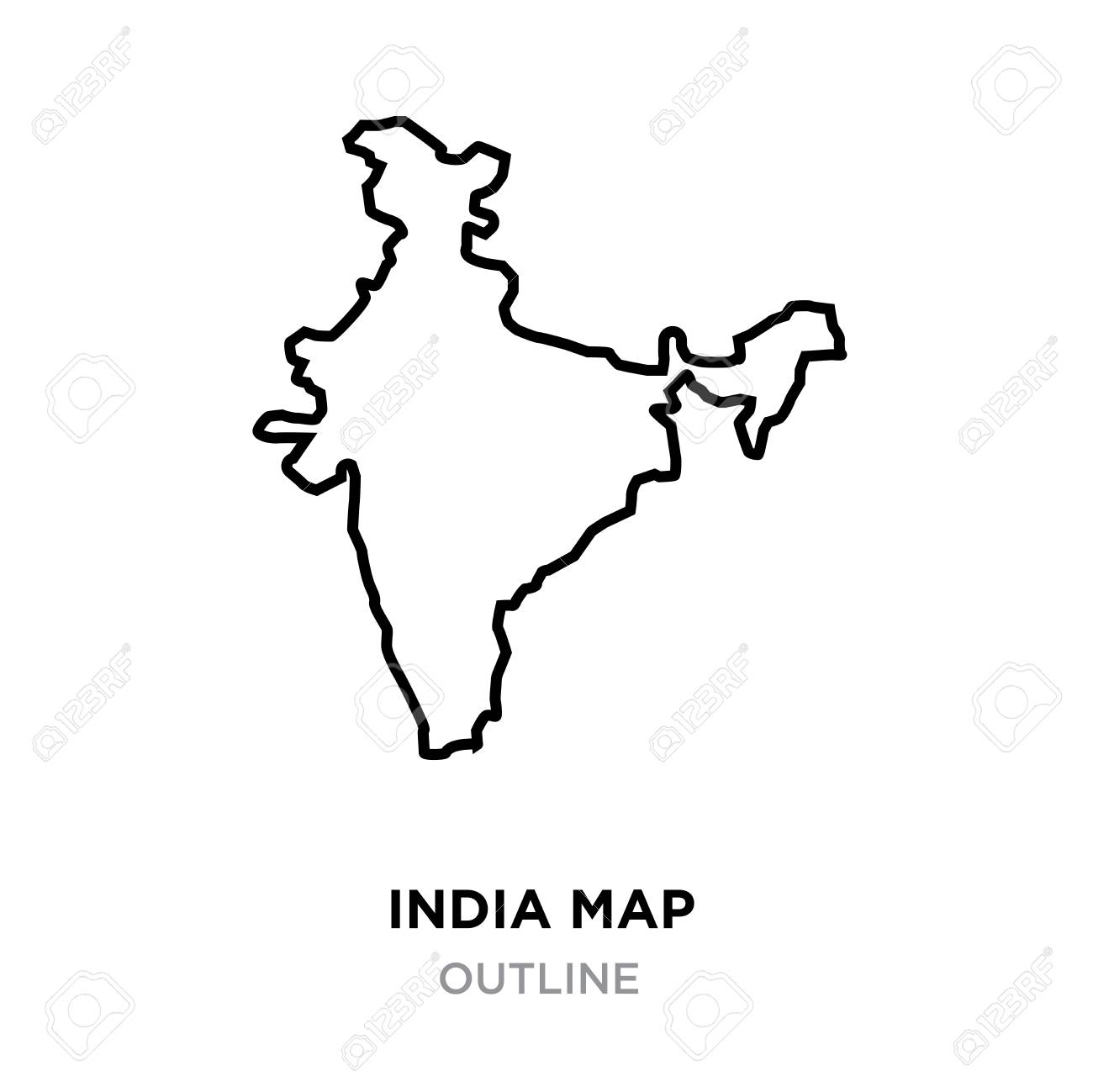 Indian map outline on white background, vector illustration.