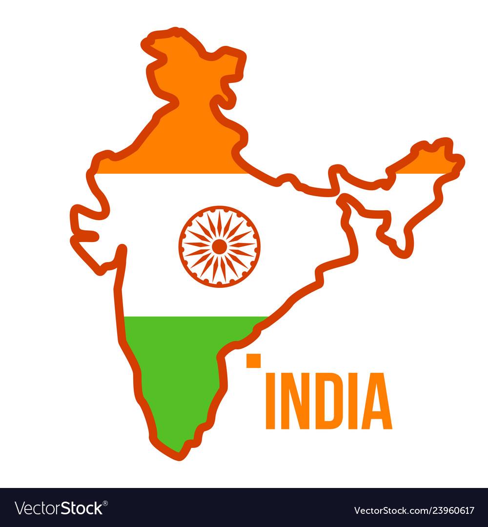 India map flag isolated flat cartoon.