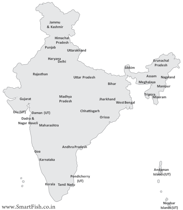 Free India Map Vector.