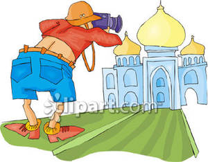Taking Photo of the Taj Mahal.