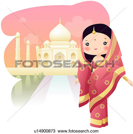 Drawing of India, TajMahal, tourist attractions, sightseeing.