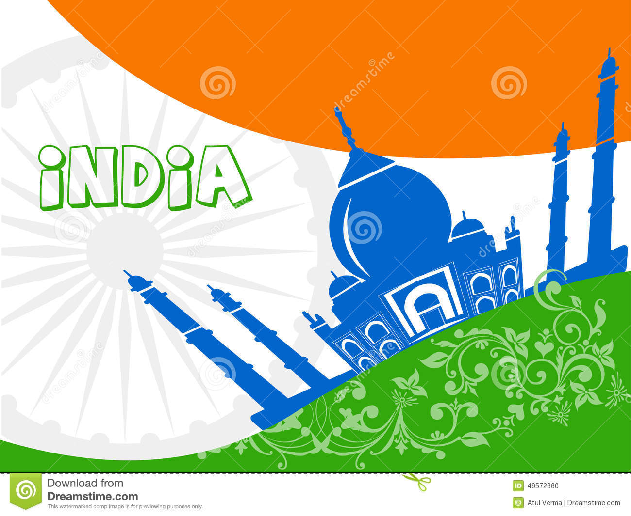 India Tourism, India Travel With Taj Mahal Agra Background Stock.