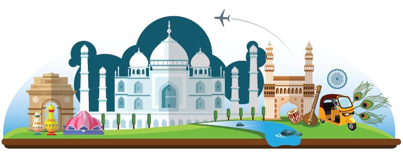 Tourist Attractions in India Clipart.