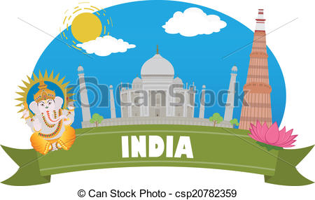 Clipart Vector of India. Tourism and travel csp20782359.