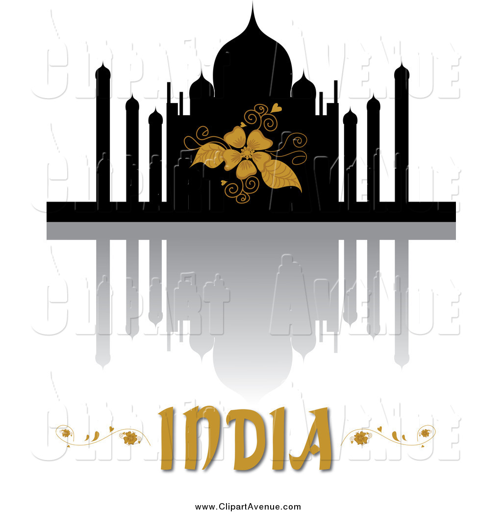 Avenue Clipart of Taj Mahal, Reflection and India Text by Pams.