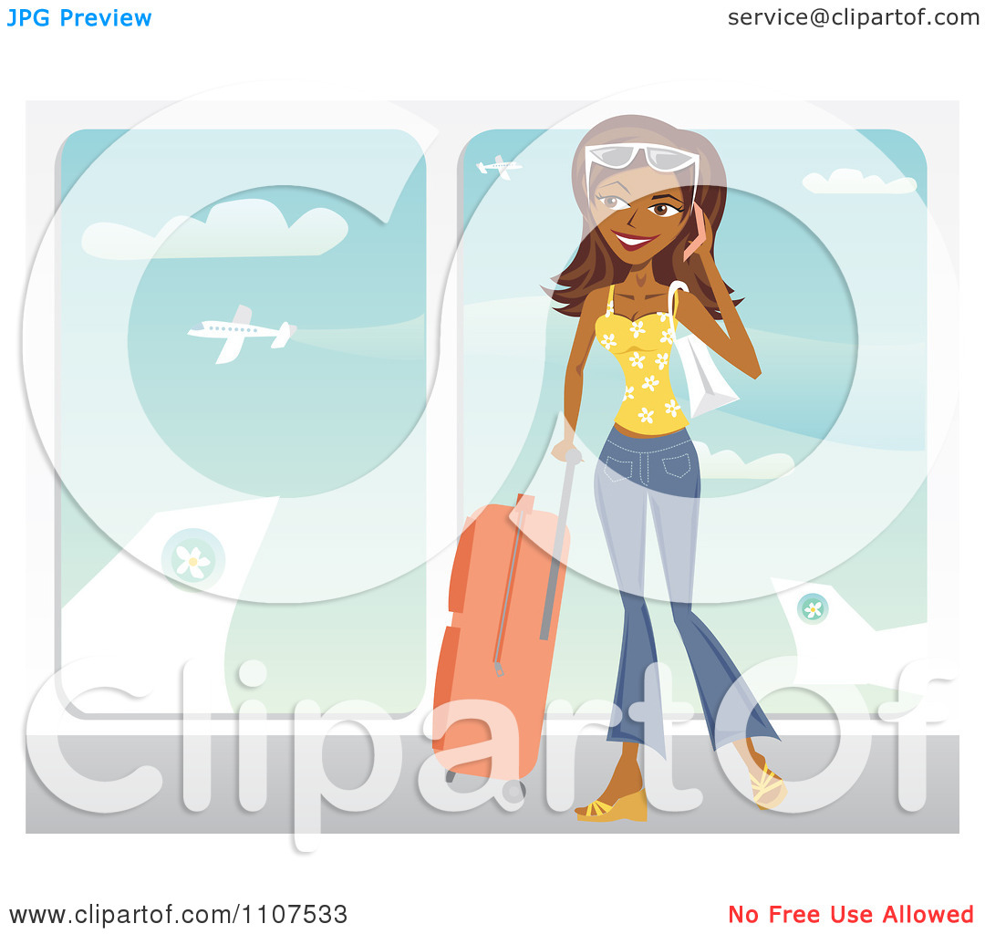 Clipart Happy Traveling Indian Woman Talking On Her Cell Phone At.