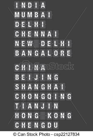 Vectors of Airport Flip Board with Name of Cities in China and.