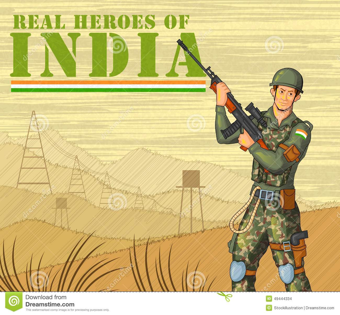 Indian Army Man Clipart.