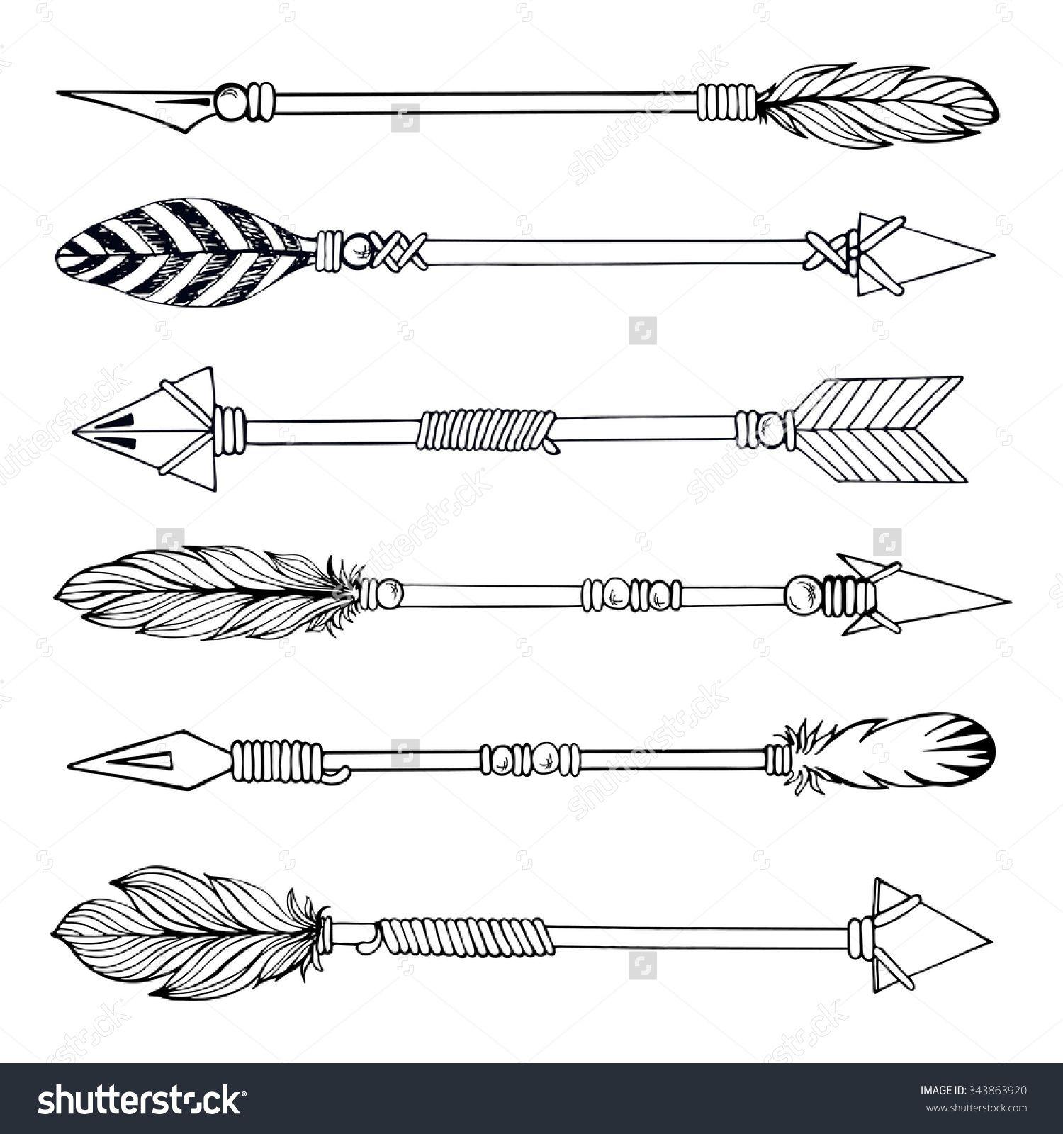 Tribal Indian Arrow Set. Ethnic Hand Drawn Vector Illustration.