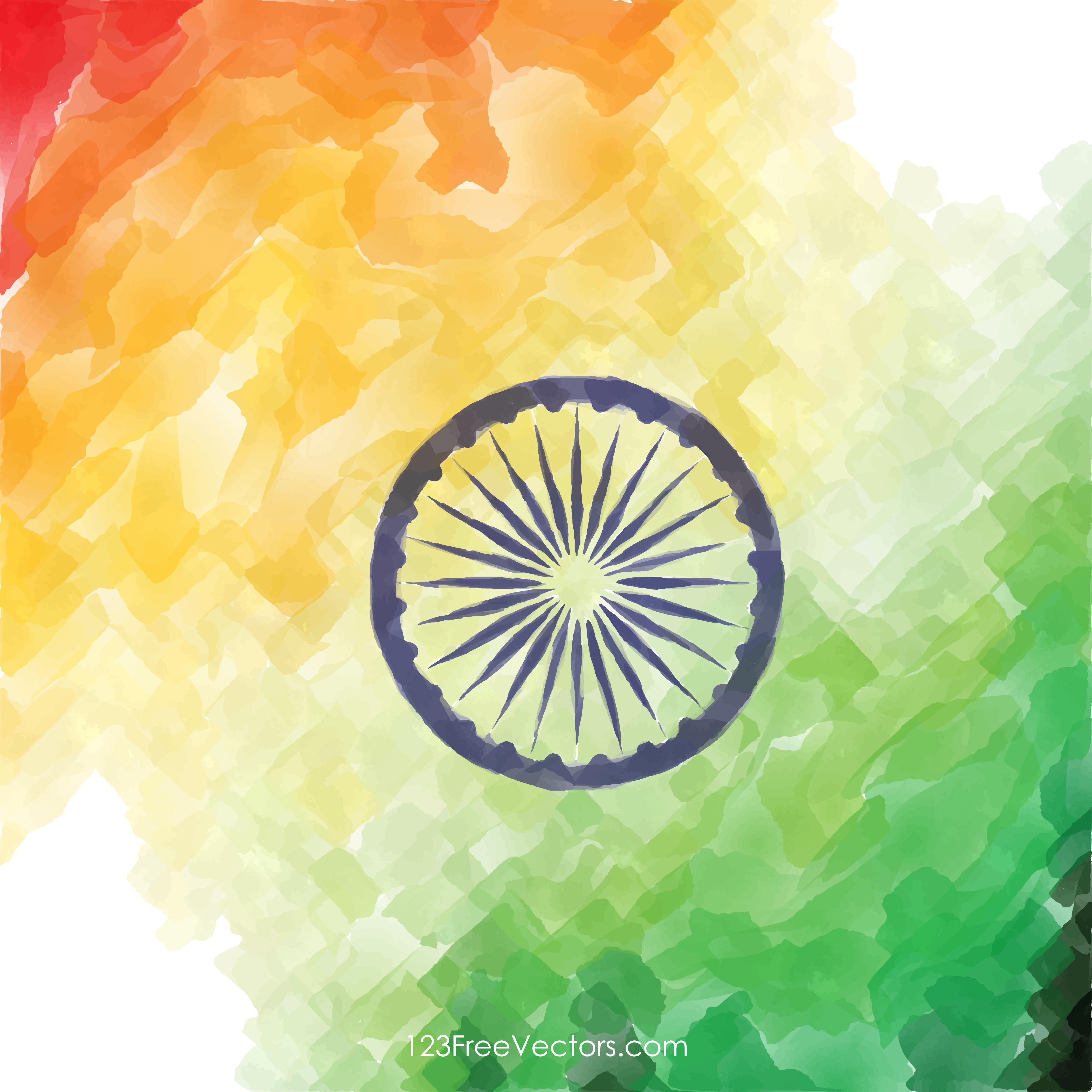 Creative Watercolor Indian Flag Background Image.