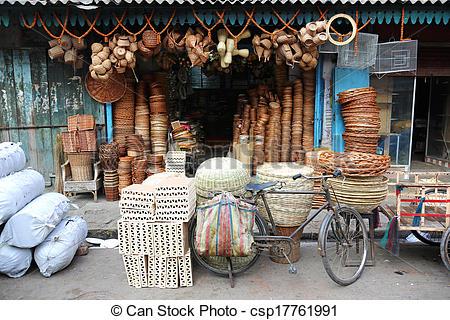 Stock Photographs of Basket Maker Shop Calcutta India.