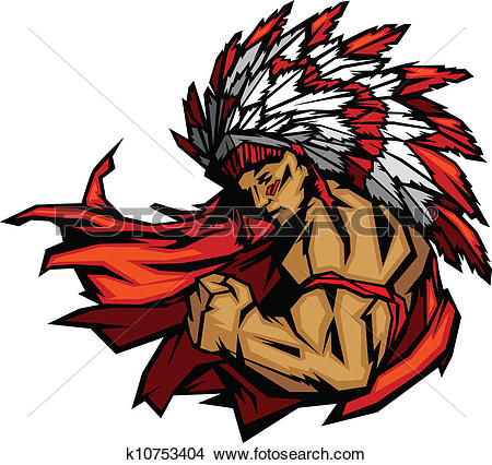 Clipart of Indian Chief Mascot with Spear k9032212.