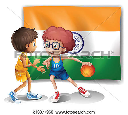 Clip Art of Two boys playing basketball in front of the Indian.