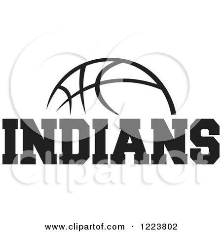 Clipart of a Black and White Basketball with INDIANS Text.