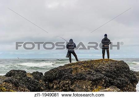 Stock Photography of Fishing at Indian beach. Cannon Beach,Oregon.