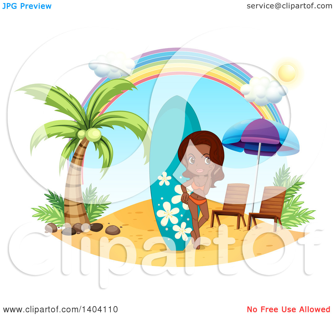 Clipart of a Happy Indian Woman in a Bikini, Standing by a.