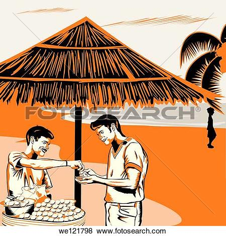 Pictures of Vendor serving Indian snack panipuri to a man on the.