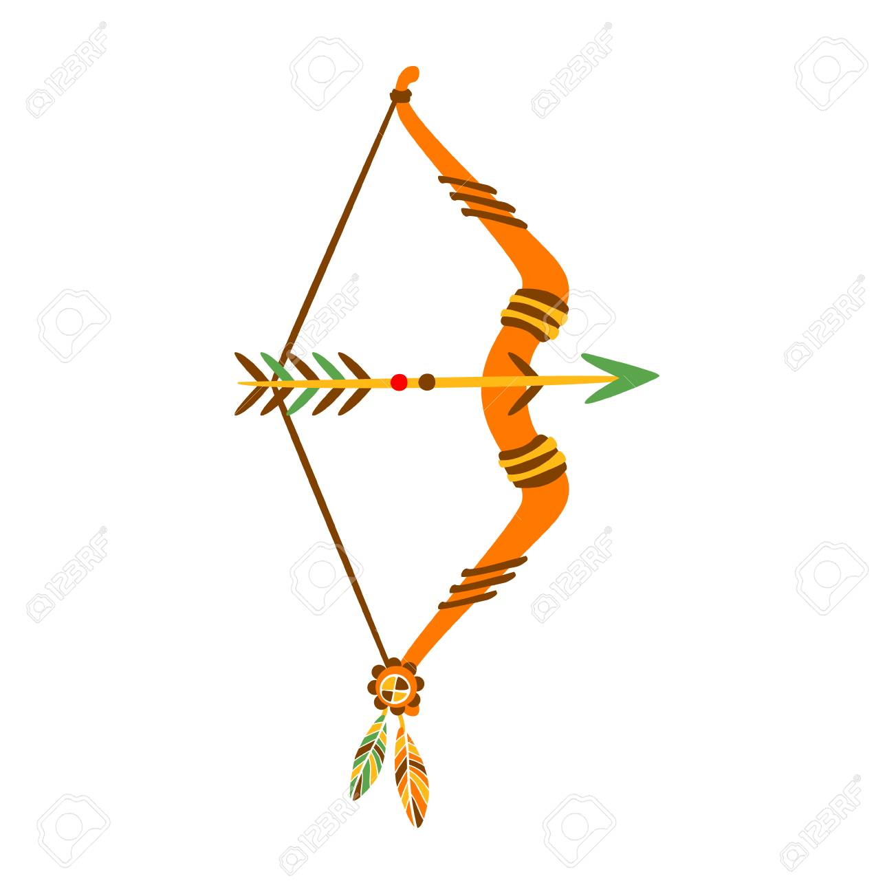 Bow With Arrow Decorated With Feathers, Native Indian Culture...
