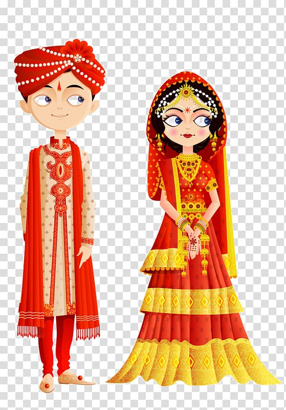 Girl and boy traditional dress illustration, Wedding.