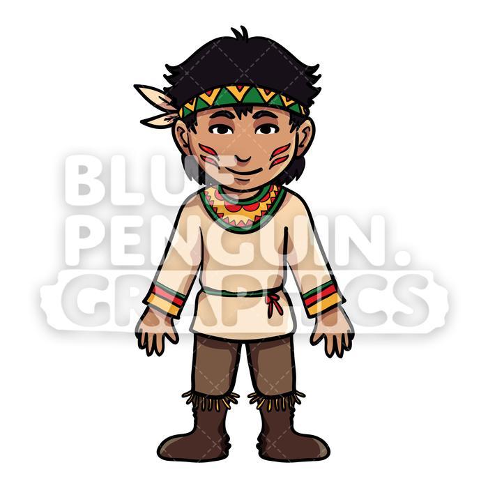 Indian Thanksgiving Boy version 3 Vector Cartoon Clipart Illustration.