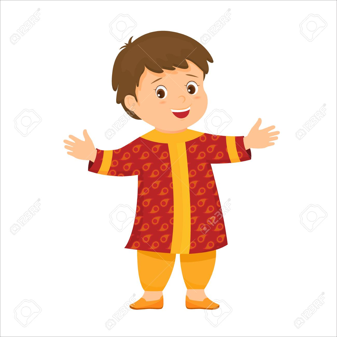 Cartoon little indian boy in national clothes.