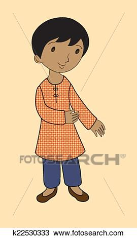 Indian boy in traditional dress Clipart.