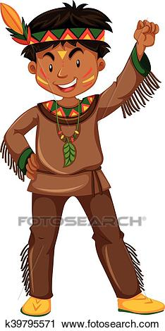 American indian boy in traditional clothes Clipart.