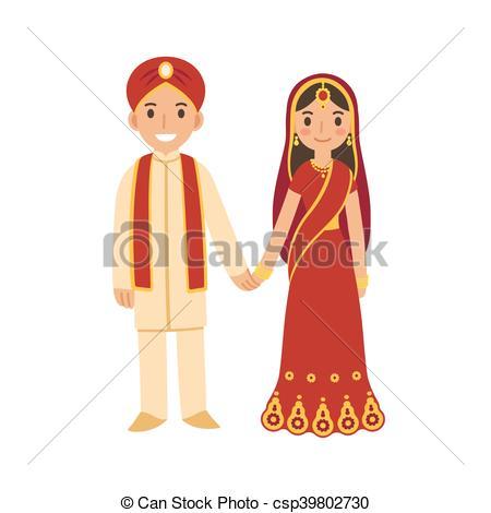 Clip Art Vector of Bride and Groom in Indian Hindu Wedding in.