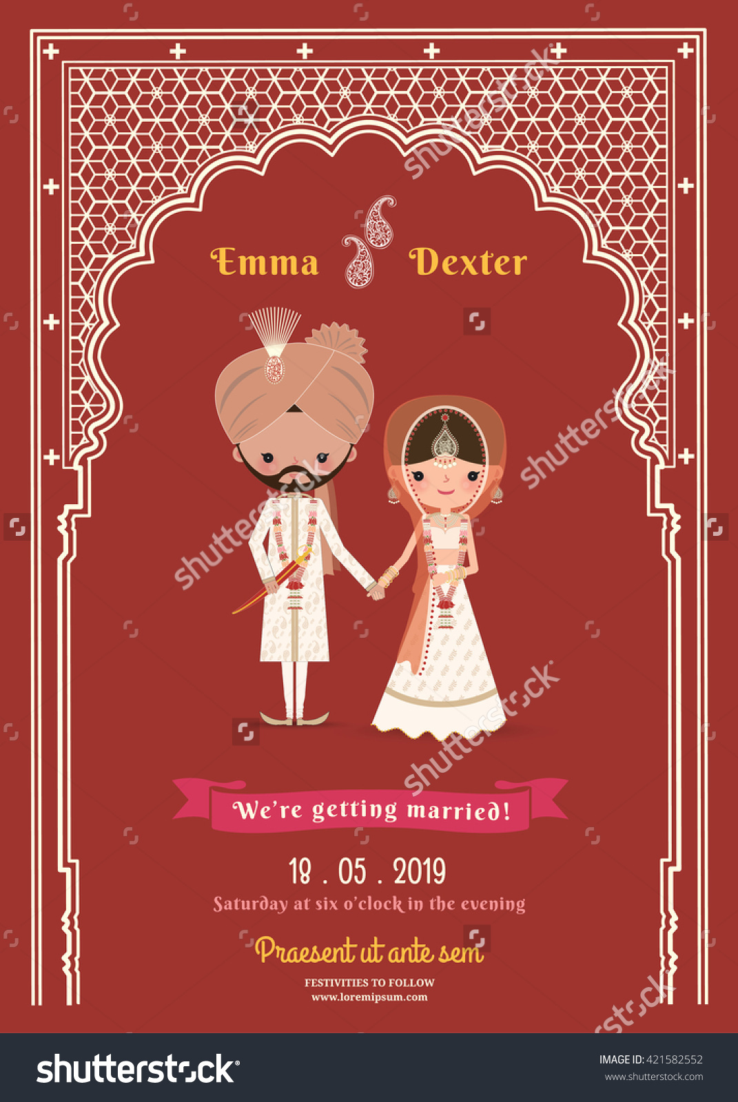 Indian Wedding Bride Groom Cartoon Save Stock Vector 421582552.