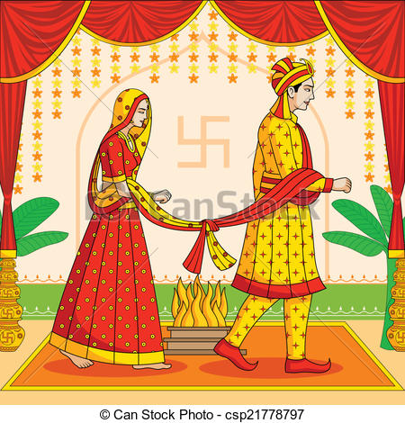 Bride And Groom Indian Clipart.