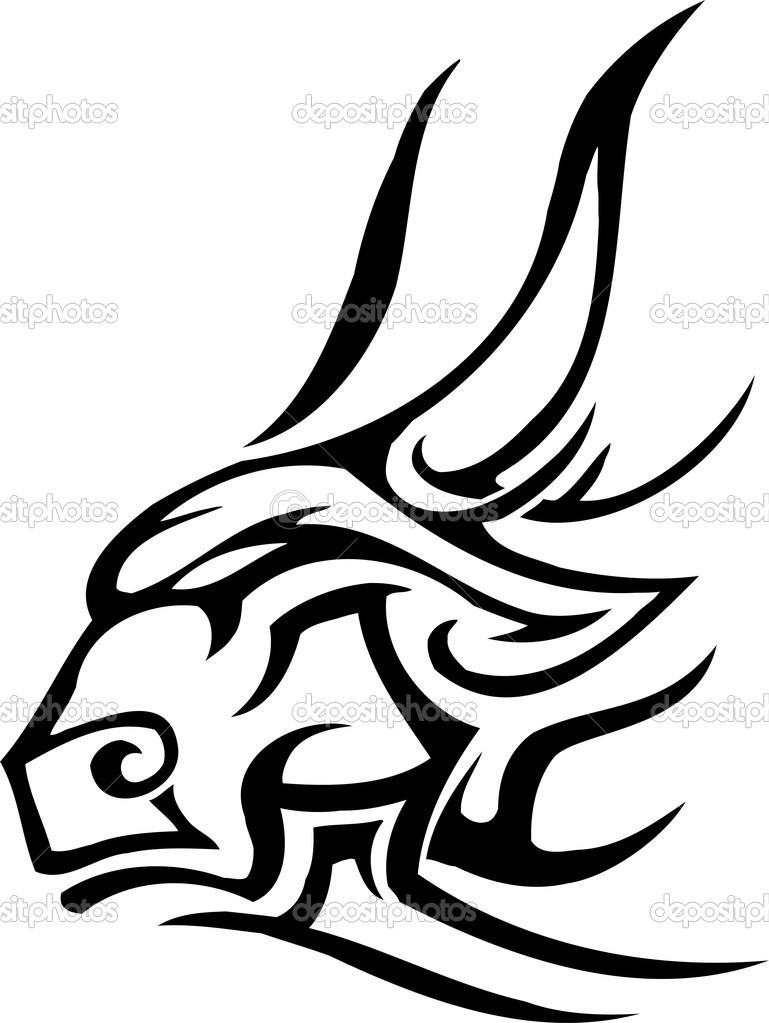 Bull in tribal style.