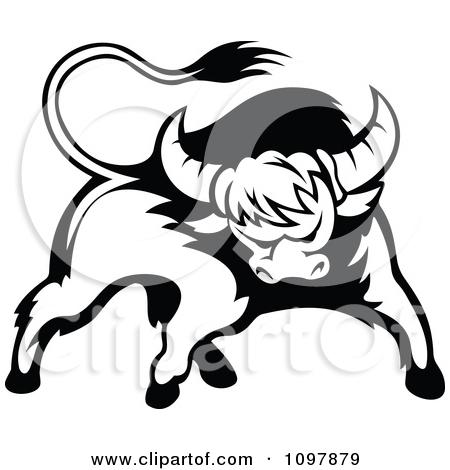 Clipart Red Aggressive Bull.