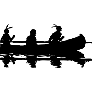 Indian Canoe Silhouette Clipart.
