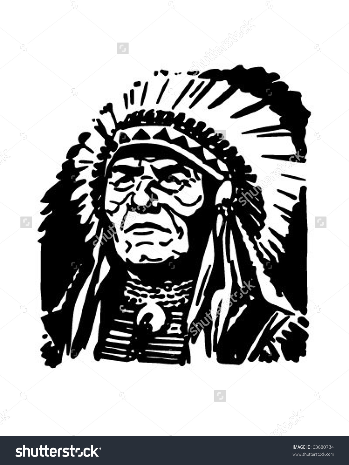Indian Chief Retro Clipart Illustration Stock Vector 63680734.