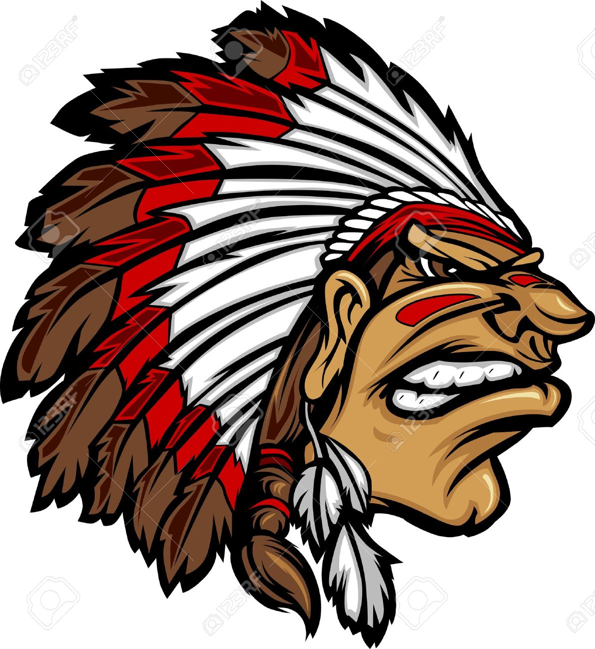 Indian Chief Mascot Head Cartoon Graphic.