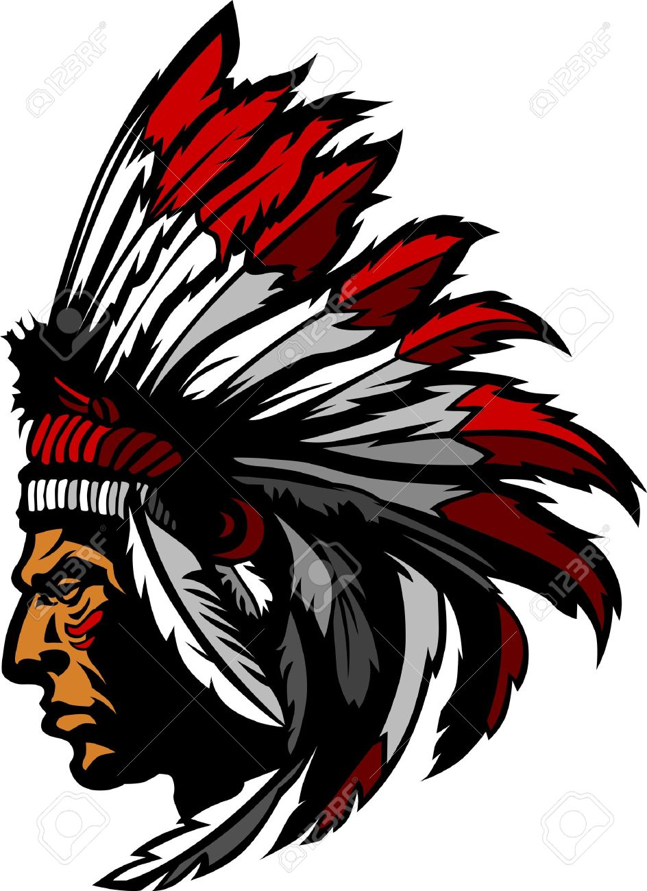 Indian Chief Mascot Head Graphic.