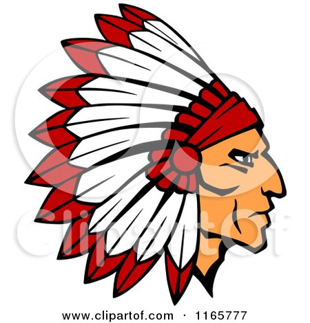 Clipart Native American Indian Chief Wearing A Feathered Headdress.
