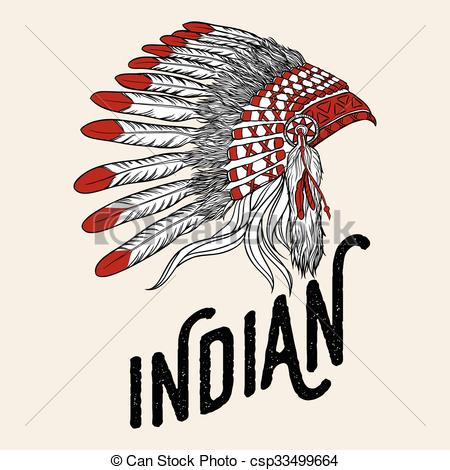Clip Art Vector of Native american indian chief headdress. Vector.