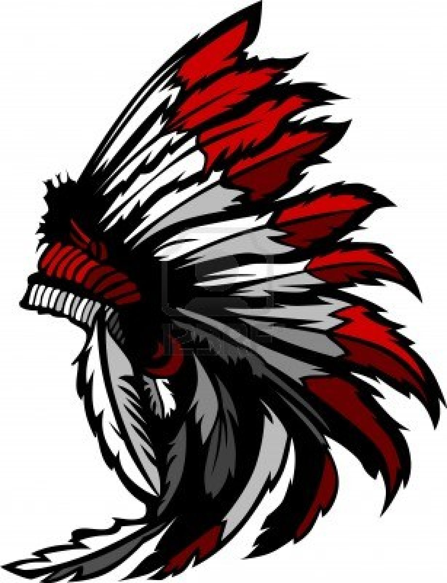 Graphic Native American Indian Chief Headdress Stock Photo.