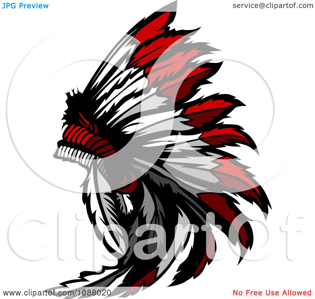 Clipart Native American Indian Chief Feather Headdress.