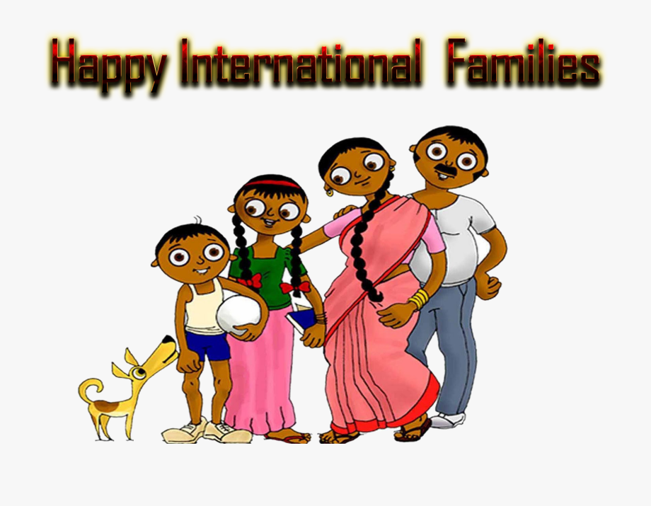 Happy International Families Indian Family Clipart.