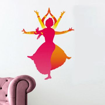 Decal Dzine Indian Classical Dancers Wall Sticker.